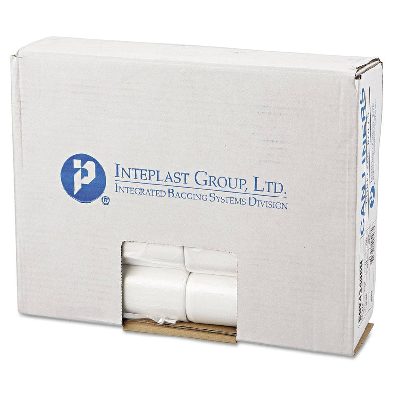 "Interplast High-Density Commercial Can Liners, 10 Gal, 6 Microns, 24"" X 24"", Natural, 1,000/Carton - IBSEC242406N - TotalRestroom.com"