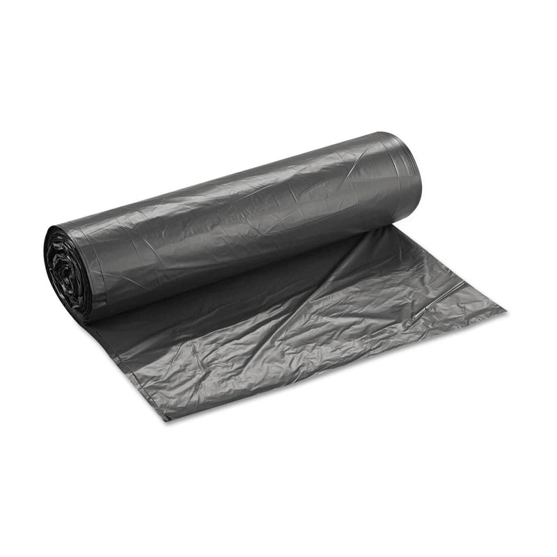 "Interplast High-Density Interleaved Commercial Can Liners, 60 Gal, 16 Microns, 43"" X 48"", Black, 200/Carton - IBSS434816K - TotalRestroom.com"