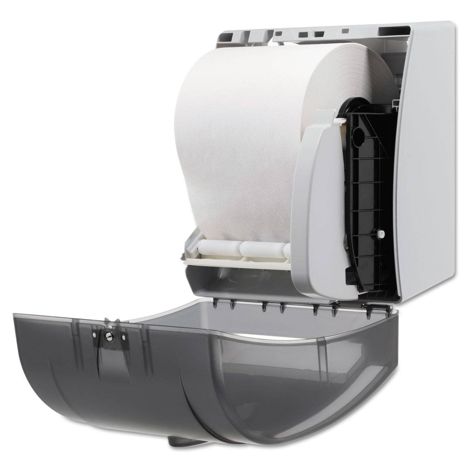 Georgia Pacific Hygienic Push-Paddle Roll Towel Dispenser, Translucent Smoke - GPC54338 - TotalRestroom.com