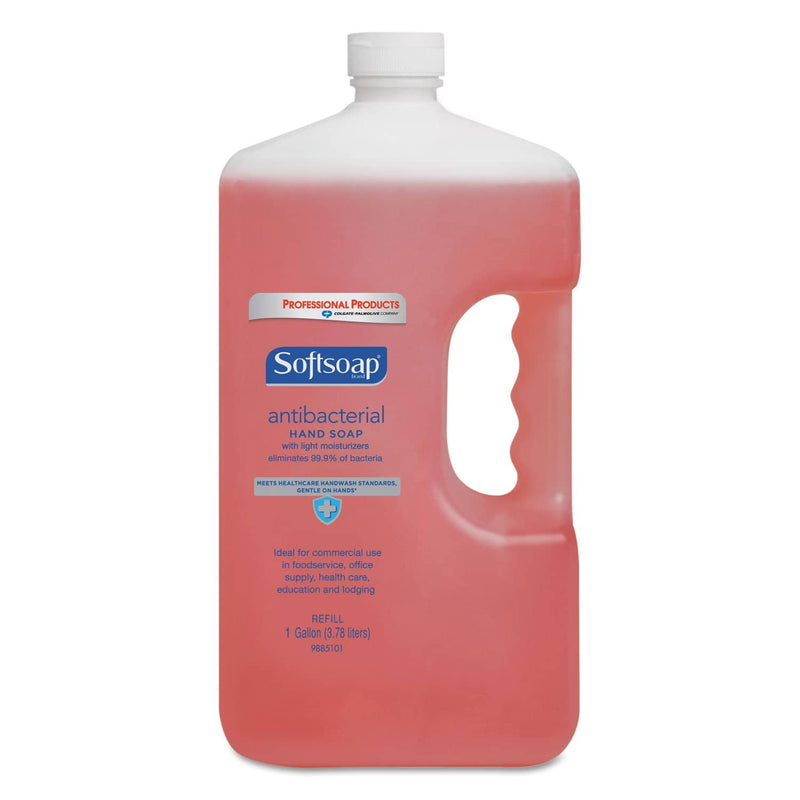 Softsoap Antibacterial Liquid Hand Soap Refill, Crisp Clean, Pink, 1Gal Bottle, 4/Carton - CPC01903CT - TotalRestroom.com