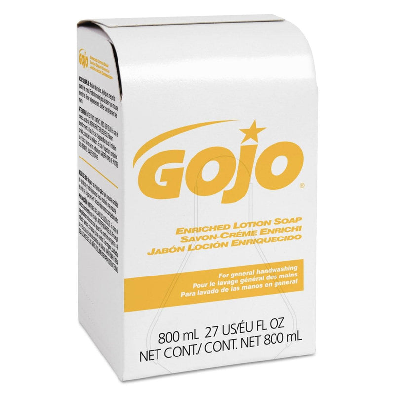 Gojo Enriched Lotion Soap Bag-In-Box Refill, Herbal Floral, 800 Ml, 12/Carton - GOJ910212CT - TotalRestroom.com