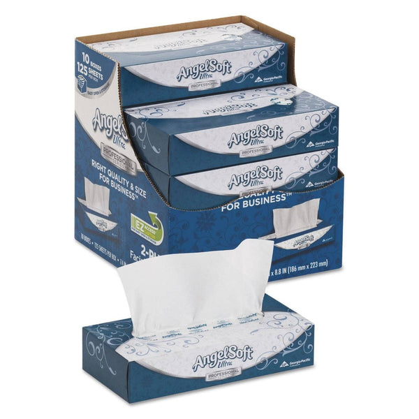 Angel Soft Ps Ultra Facial Tissue, 2-Ply, White, 125 Sheets/Box, 10 Boxes/Carton - GPC4836014
