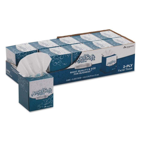 Angel Soft Ps Ultra Facial Tissue, 2-Ply, White, 96 Sheets/Box, 10 Boxes/Carton - GPC4636014
