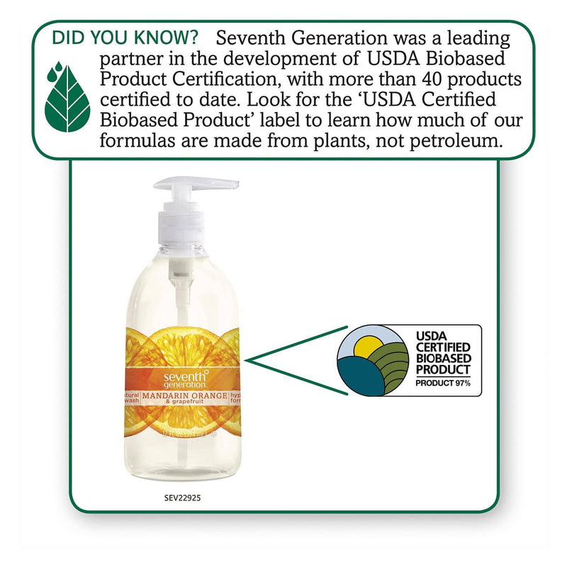 Seventh Generation Natural Hand Wash, Mandarin Orange & Grapefruit, 12 Oz Pump Bottle, 8/Carton - SEV22925CT - TotalRestroom.com