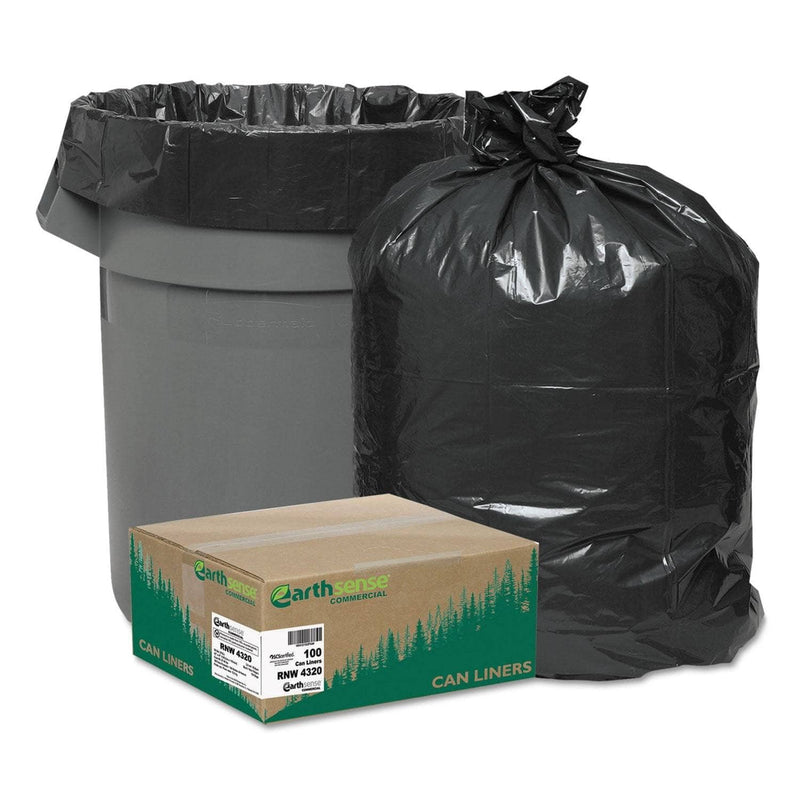 "Earthsense Linear Low Density Recycled Can Liners, 56 Gal, 2 Mil, 43"" X 47"", Black, 100/Carton - WBIRNW4320 - TotalRestroom.com"