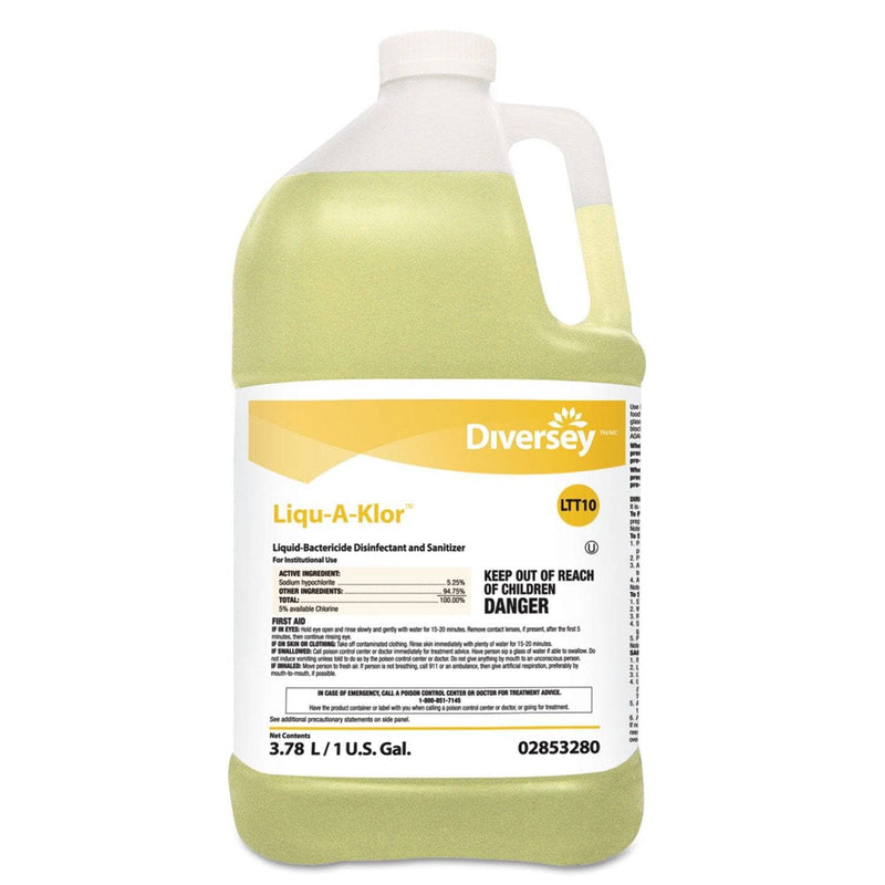 Diversey Liqu-A-Klor Disinfectant/Sanitizer, 1 Gal Bottle, 4/Carton - DVO02853280 - TotalRestroom.com