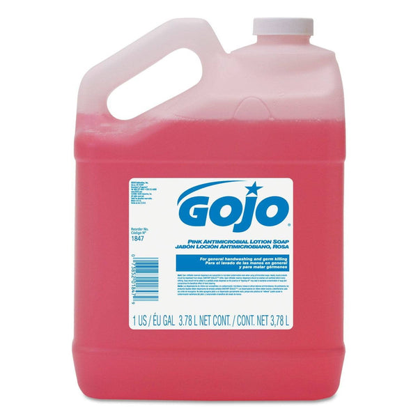 Gojo Antimicrobial Lotion Soap, Floral Balsam Scent, 1 Gal Bottle, 4/Carton - GOJ184704