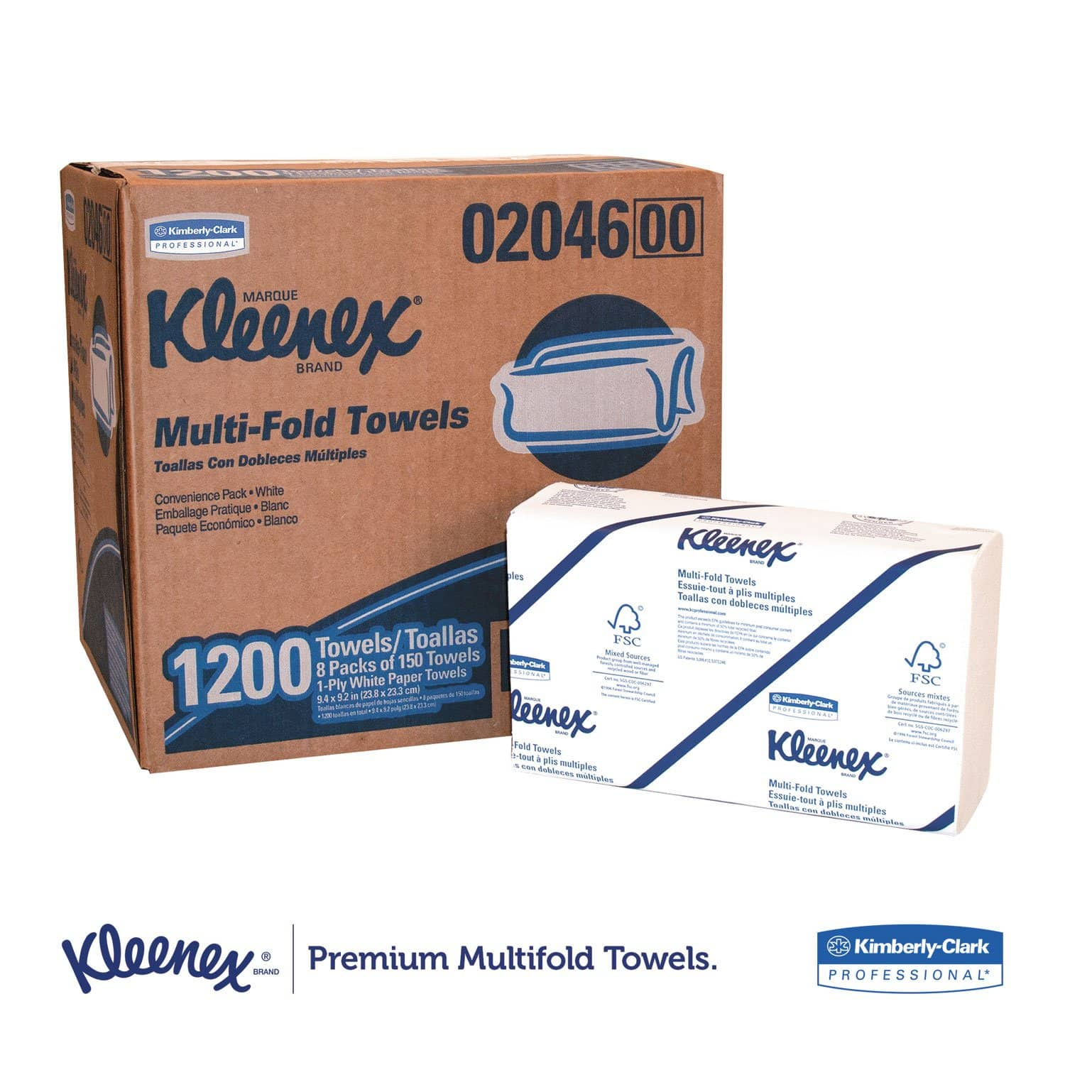 Kleenex Multi-Fold Paper Towels, Convenience, 9 1/5X9 2/5, White, 150/Pk, 8 Packs/Carton - KCC02046 - TotalRestroom.com