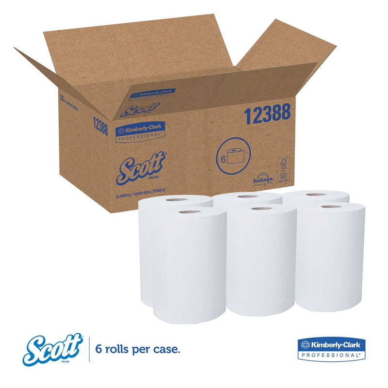 "Scott Control Slimroll Towels, Absorbency Pockets, 8"" X 580Ft, White, 6 Rolls/Carton - KCC12388 - TotalRestroom.com"