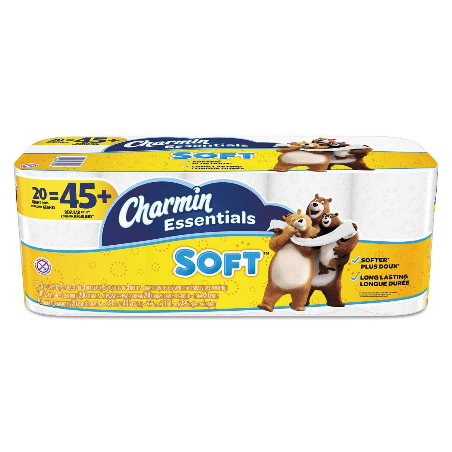 Charmin Essentials Soft Bathroom Tissue, Septic Safe, 2-Ply, White, 4 X 3.92, 200/Roll, 20 Roll/Pack - PGC96609 - TotalRestroom.com