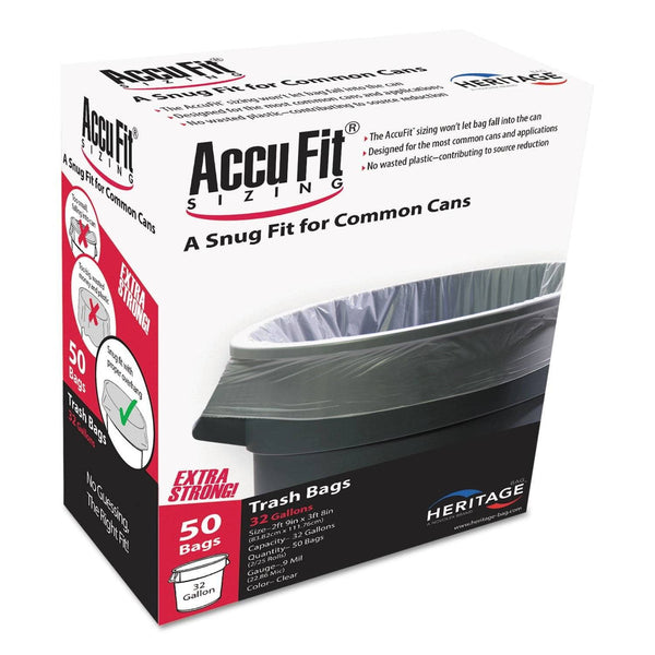 "AccuFit Linear Low Density Can Liners With Accufit Sizing, 32 Gal, 0.9 Mil, 33"" X 44"", Clear, 50/Box - HERH6644TCRC1"