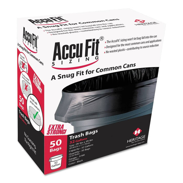 "AccuFit Linear Low Density Can Liners With Accufit Sizing, 55 Gal, 1.3 Mil, 40"" X 53"", Black, 50/Box - HERH8053PKRC1"