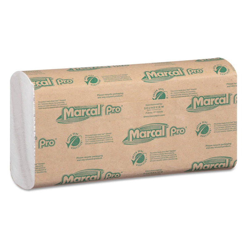 Marcal 100% Recycled Folded Paper Towels, 12 7/8X10 1/8,C-Fold, White,150/Pk, 16 Pk/Ct - MRCP100B - TotalRestroom.com