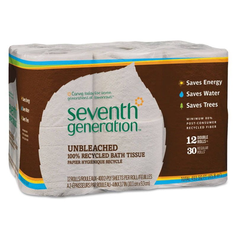 Seventh Generation Natural Unbleached 100% Recycled Bath Tissue, Septic Safe, 2-Ply, 400 Sheet/Mega Roll, 48/Carton - SEV13735CT - TotalRestroom.com