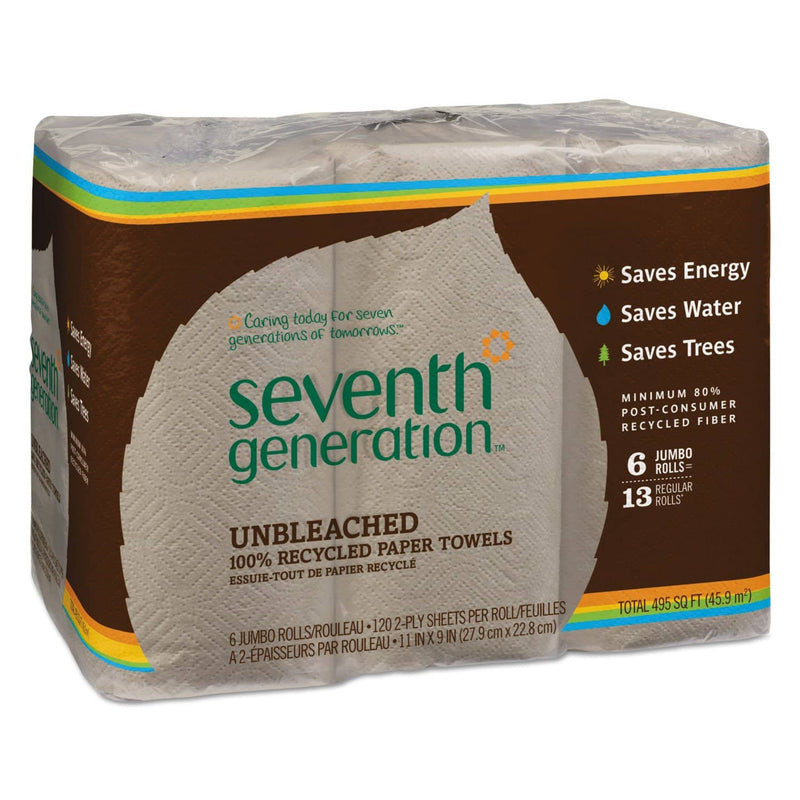 Seventh Generation Natural Unbleached 100% Recycled Paper Towel Rolls, 11 X 9, 120 Sh/Rl, 6 Rl/Pk - SEV13737PK - TotalRestroom.com