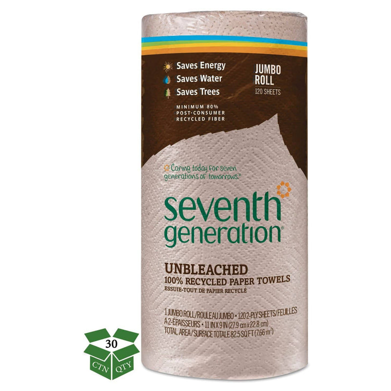 Seventh Generation Natural Unbleached 100% Recycled Paper Towel Rolls,11 X 9,120 Sheets/Rl,30 Rl/Ct - SEV13720CT - TotalRestroom.com