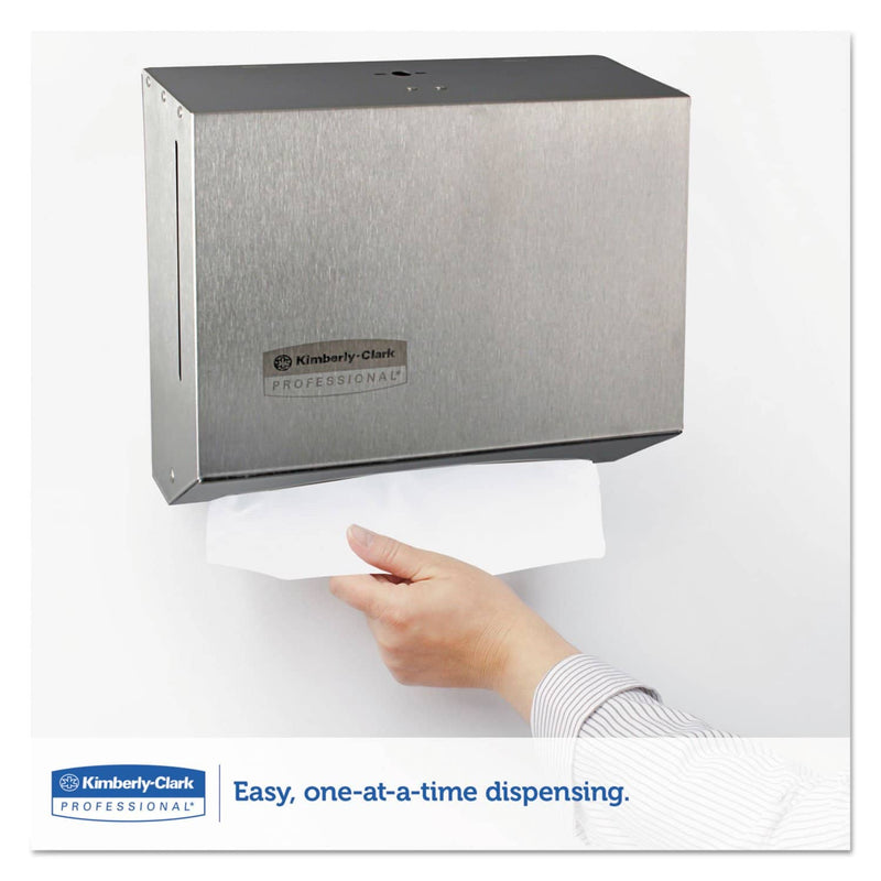 Kimberly-Clark Windows Scottfold Compact Towel Dispenser, 10 3/5 X 9 X 4 3/4, Stainless Steel - KCC09216 - TotalRestroom.com