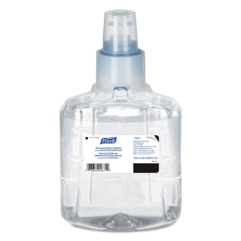 Purell Advanced Green Certified Hand Sanitizer Refill, 1200 Ml, Foam, Fragfree, 2/Ct - GOJ190402CT - TotalRestroom.com
