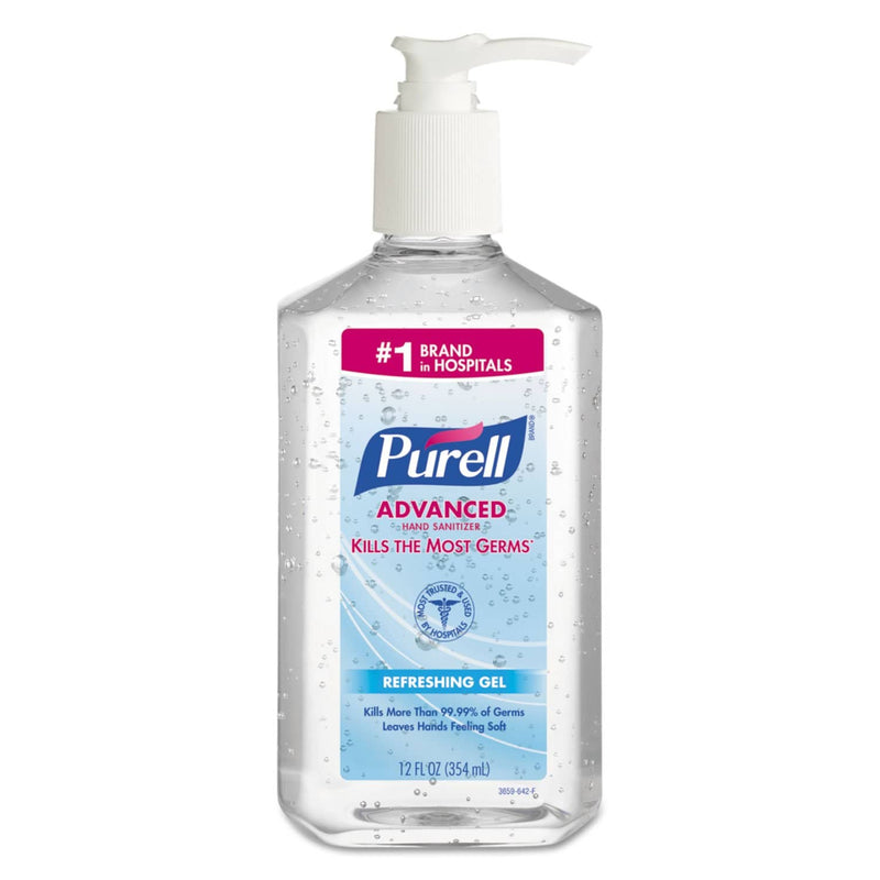 Purell Advanced Hand Sanitizer Refreshing Gel, Clean Scent, 12 Oz Pump Bottle - GOJ365912CT - TotalRestroom.com
