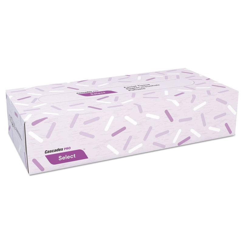 Cascades Select Flat Box Facial Tissue, 2-Ply, White, 100 Sheets/Box, 30 Boxes/Carton - CSDF150 - TotalRestroom.com