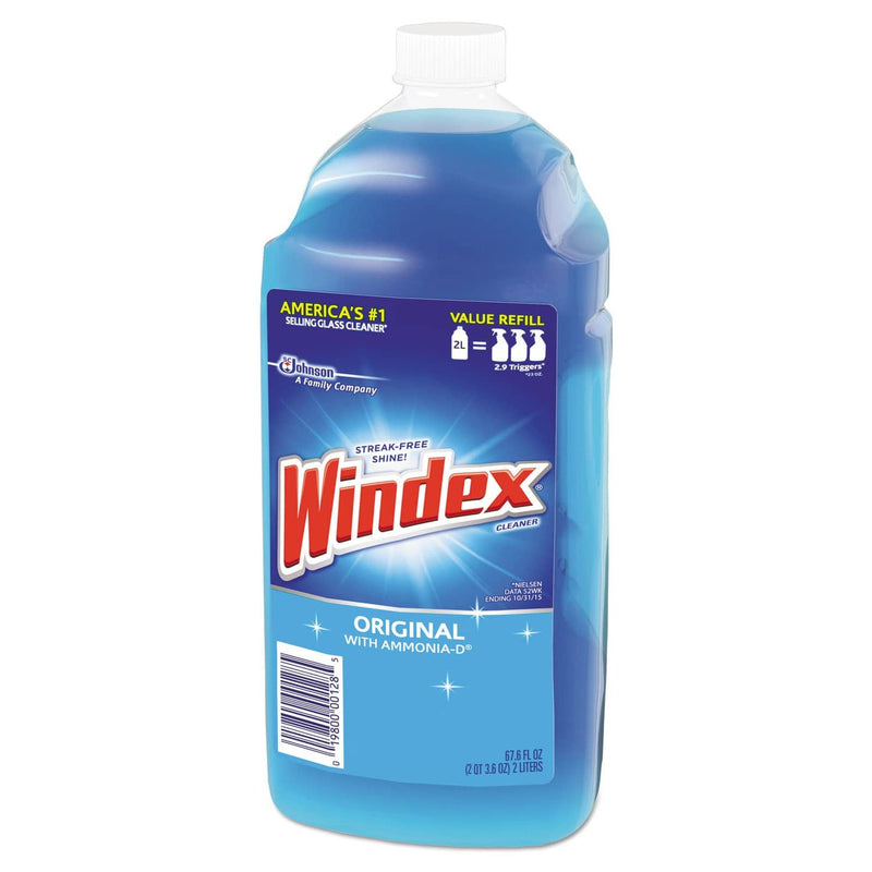 Windex Glass Cleaner With Ammonia-D, 67.6Oz Refill, Unscented, 6/Carton - SJN062128 - TotalRestroom.com