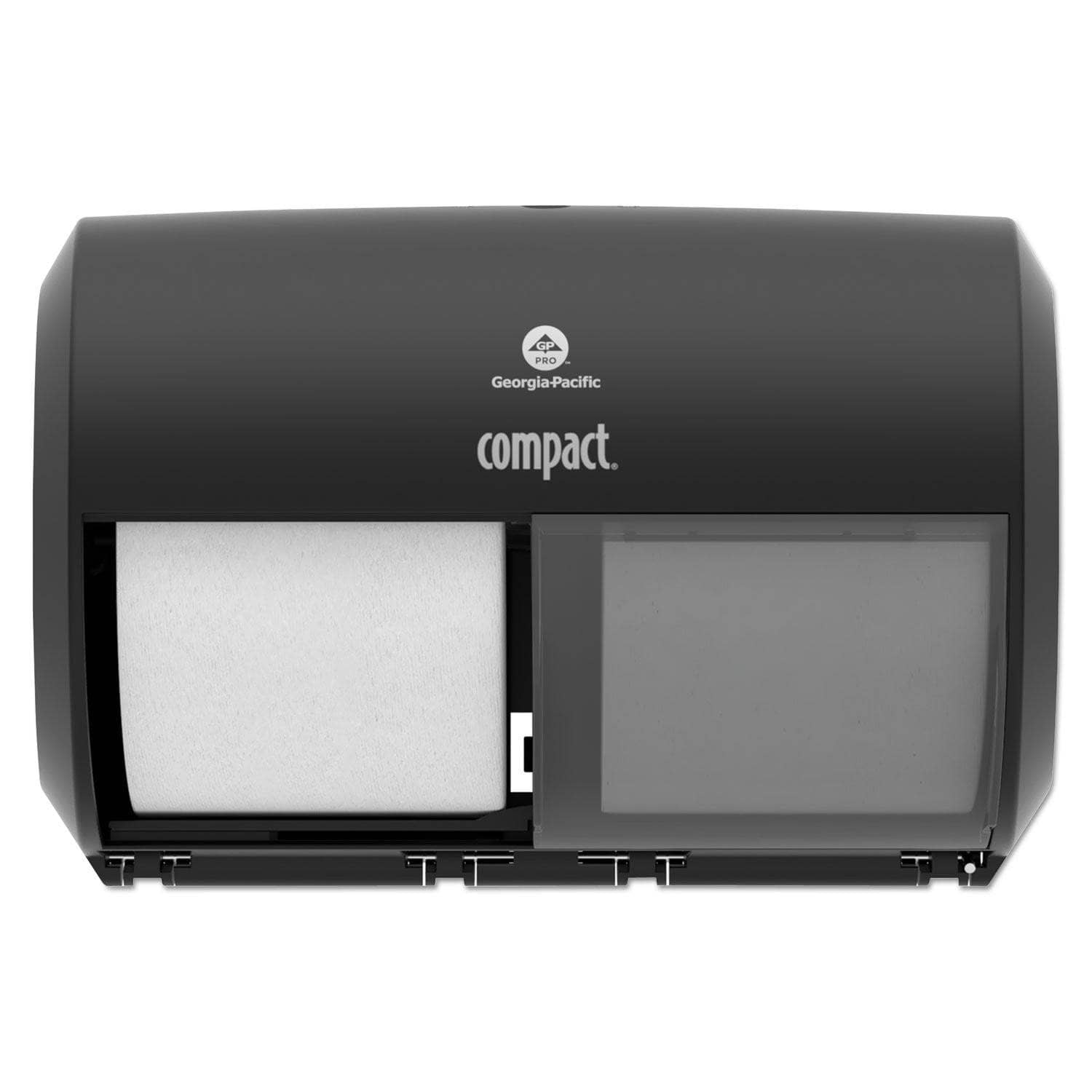 Georgia Pacific Compact Coreless Side-By-Side 2-Roll Tissue Dispenser, 11.5 X 7.625 X 8, Black - GPC56784A - TotalRestroom.com