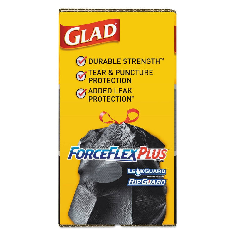"Glad Forceflexplus Drawstring Large Trash Bags, 30 Gal, 1.05 Mil, 30"" X 32"", Black, 70/Box - CLO70358 - TotalRestroom.com"