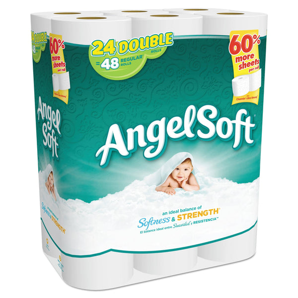 Angel Soft Double-Roll Bathroom Tissue, Septic Safe, 2-Ply, White, 264 Sheets/Roll, 24/Pack, 2 Packs/Carton - GPC7758502