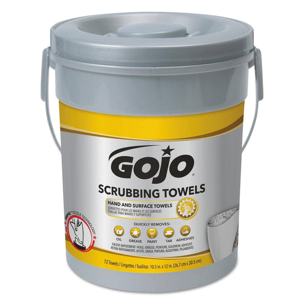 Gojo Scrubbing Towels, Hand Cleaning, Silver/Yellow, 10 1/2 X 12, 72/Bucket - GOJ639606EA
