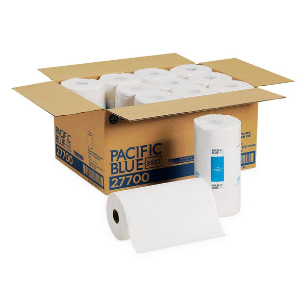 Georgia Pacific Pacific Blue Select Perforated Paper Towel, 8 4/5X11, White, 250/Roll, 12 Rl/Ct - GPC27700
