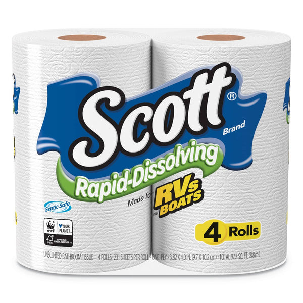 Scott Rapid-Dissolving Toilet Paper, Bath Tissue, Septic Safe, 1-Ply, White, 231 Sheets/Roll, 4/Rolls/Pack, 12 Packs/Carton - KCC47617