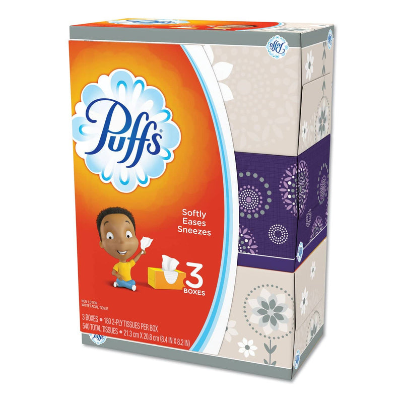Puffs White Facial Tissue, 2-Ply, White, 180 Sheets/Pack, 8 Packs/Carton - PGC87615 - TotalRestroom.com