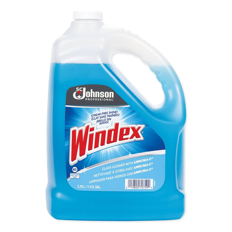 Windex Glass Cleaner With Ammonia-D, 1Gal Bottle, 4/Carton - SJN696503 - TotalRestroom.com