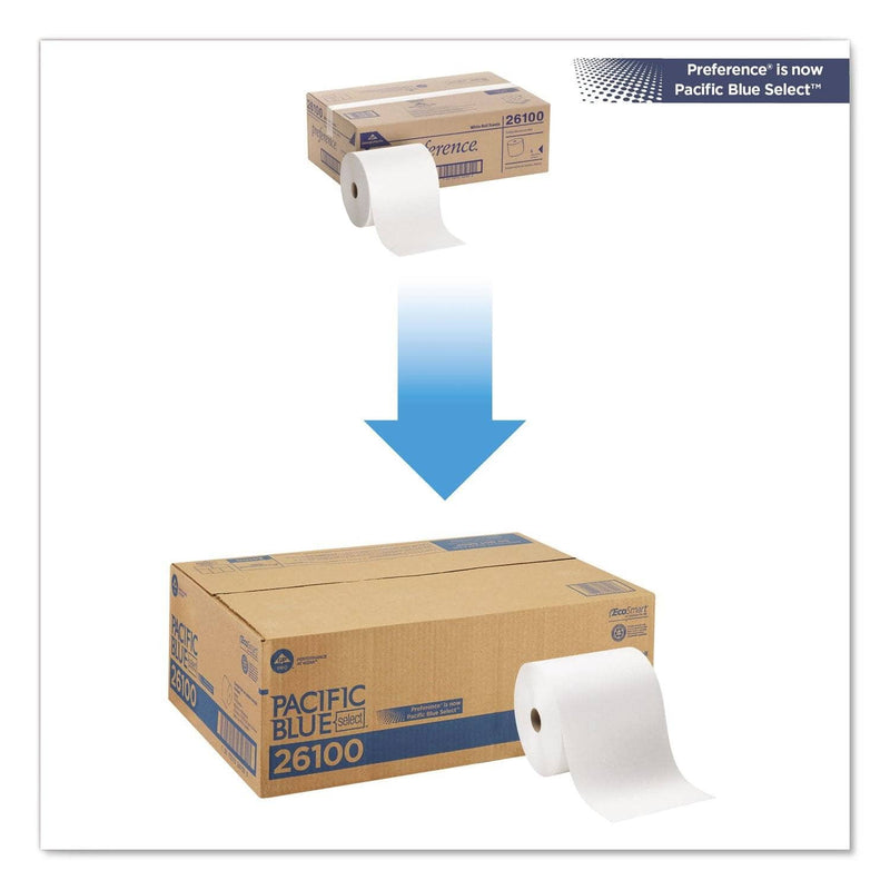 Georgia Pacific Pacific Blue Basic Nonperf Paper Towels, 7 7/8 X 1000 Ft, White, 6 Rolls/Ct - GPC26100 - TotalRestroom.com