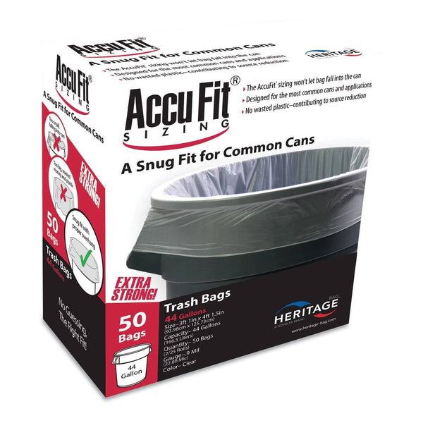 "AccuFit Linear Low Density Can Liners With Accufit Sizing, 44 Gal, 0.9 Mil, 37"" X 50"", Clear, 50/Box - HERH7450TCRC1"