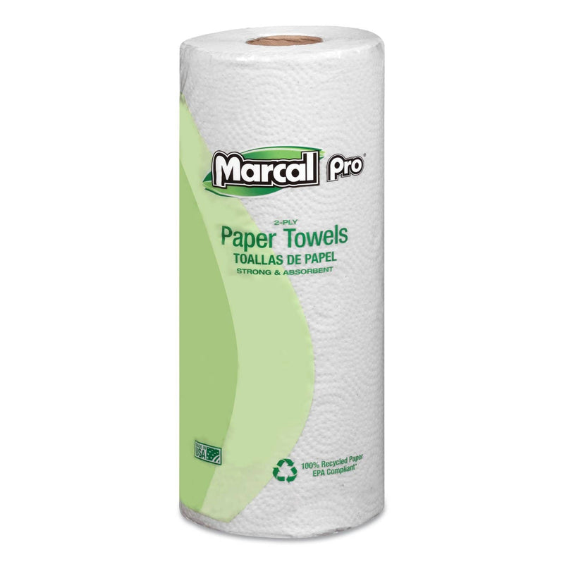 Marcal 100% Premium Recycled Towels, 2-Ply, 11 X 9, White, 70/Roll, 30 Rolls/Carton - MRC630 - TotalRestroom.com