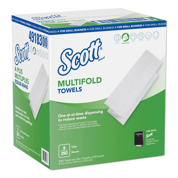Scott Multi-Fold Paper Towels, 9.2 X 9.4, White, 250/Pack, 8 Packs/Carton - KCC49183