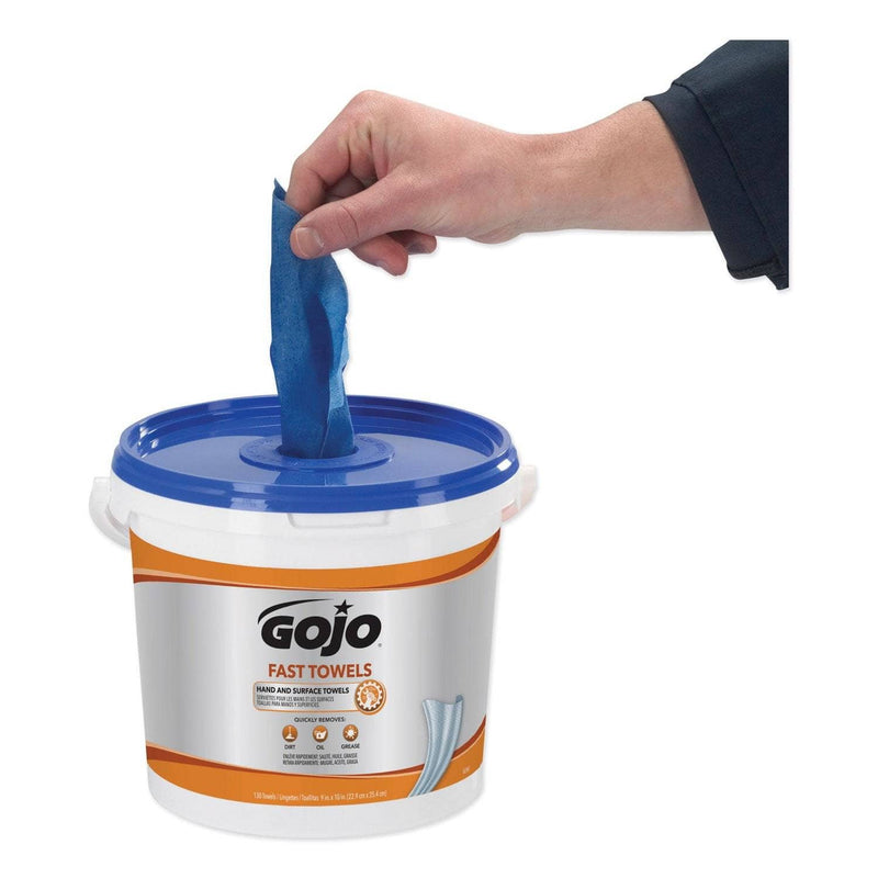 Gojo Fast Towels Hand Cleaning Towels, 7.75 X 11, 130/Bucket, 4 Buckets/Carton - GOJ6298 - TotalRestroom.com