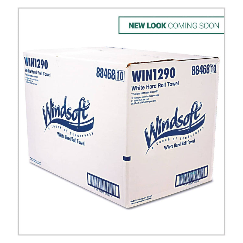 Windsoft Hardwound Roll Towels, 8 X 800 Ft, White, 12 Rolls/Carton - WIN1290B - TotalRestroom.com