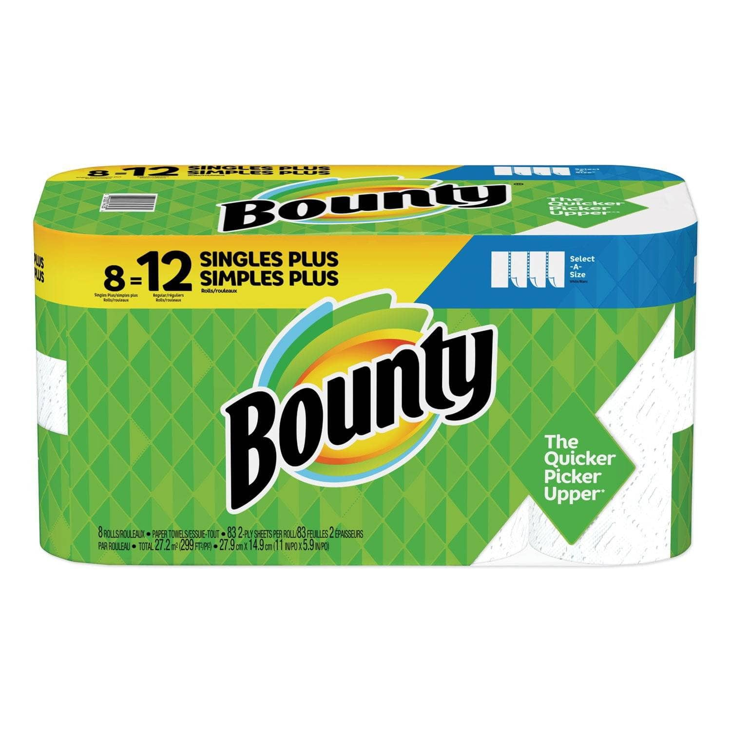 Bounty Select-A-Size Paper Towels, 2-Ply, White, 5.9 X 11, 83 Sheets/Roll, 8 Rolls/Ct - PGC90963 - TotalRestroom.com