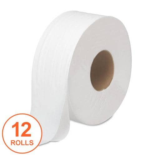 "Boardwalk Jrt Bath Tissue, Jumbo, Septic Safe, 2-Ply, White, 3.5"" X 1000 Ft, 12 Rolls/Carton - BWK6100 - TotalRestroom.com"