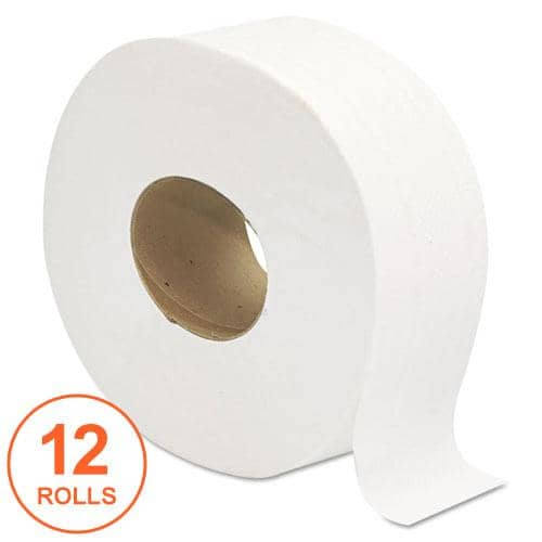 "GEN Jumbo Jrt Bath Tissue, Septic Safe, 2-Ply, White, 3 1/4"" X 720 Ft, 12 Rolls/Carton - GEN202"