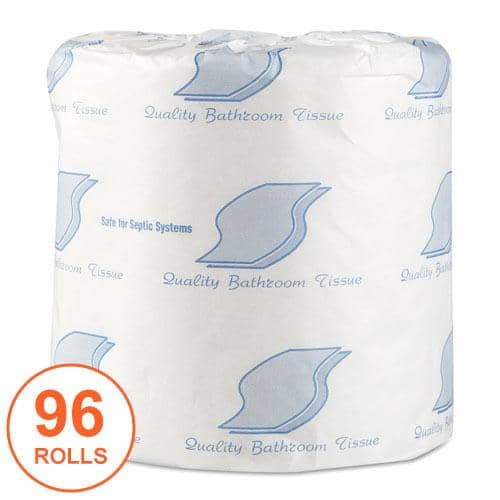 GEN Standard Bath Tissue, Septic Safe, 1-Ply, White, 1,000 Sheets/Roll, 96 Wrapped Rolls/Carton - GEN218
