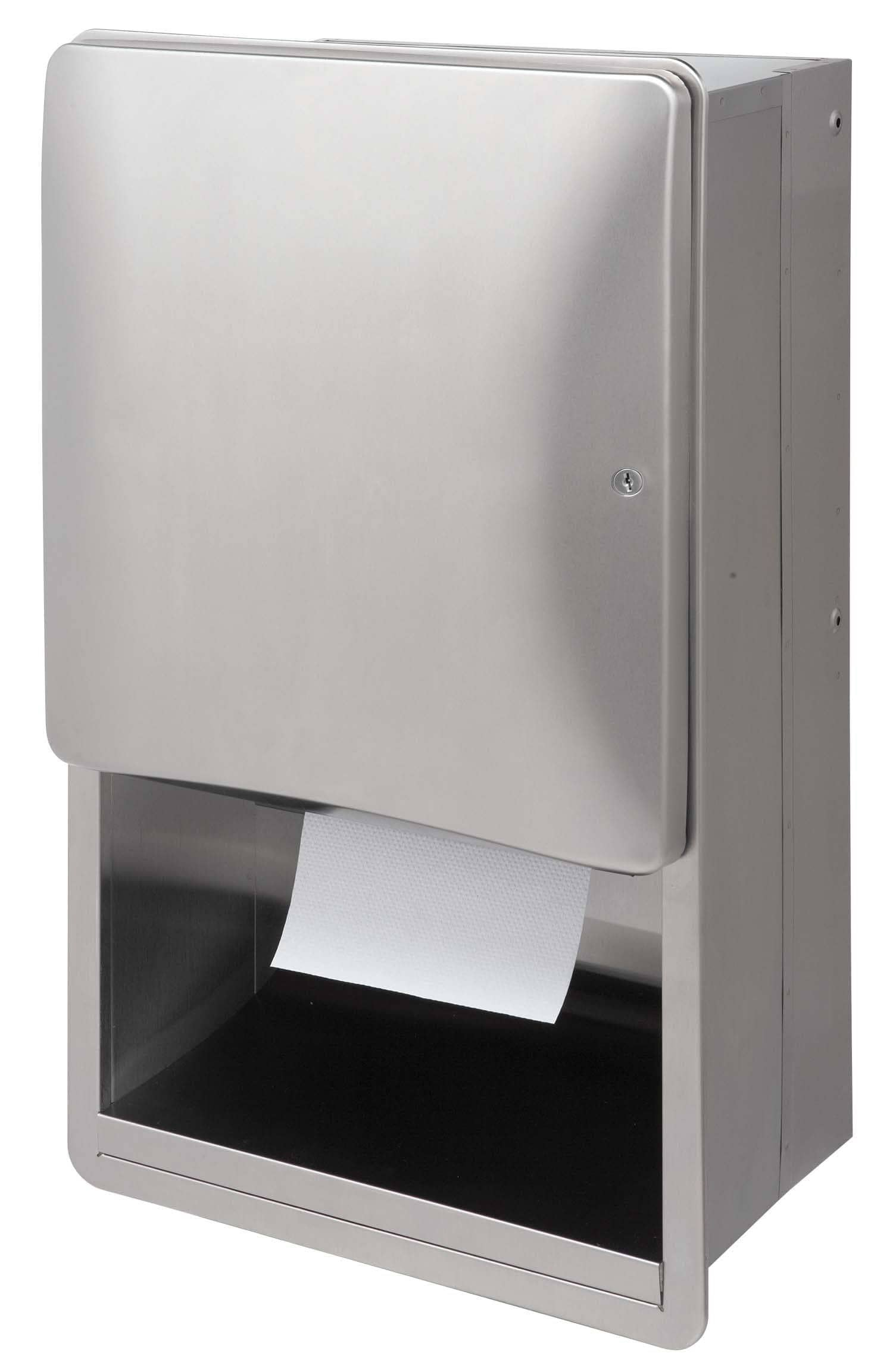 Bradley 2A01 Commercial Paper Towel Dispenser, Recessed-Mounted, Stainless Steel - TotalRestroom.com