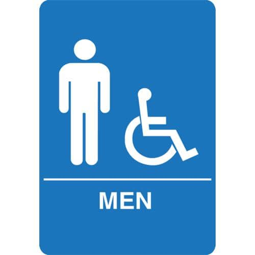 Palmer Fixture IS1002-15 ADA compliant Restroom Sign-BL---MEN RESTROOM - TotalRestroom.com