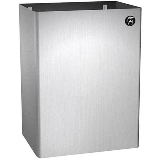 "ASI 0826 Commercial Restroom Waste Receptacle, 12 Gallon, Surface-Mounted, 15-1/4"" W x 23"" H, 2-1/2"" D, Stainless Steel - TotalRestroom.com"