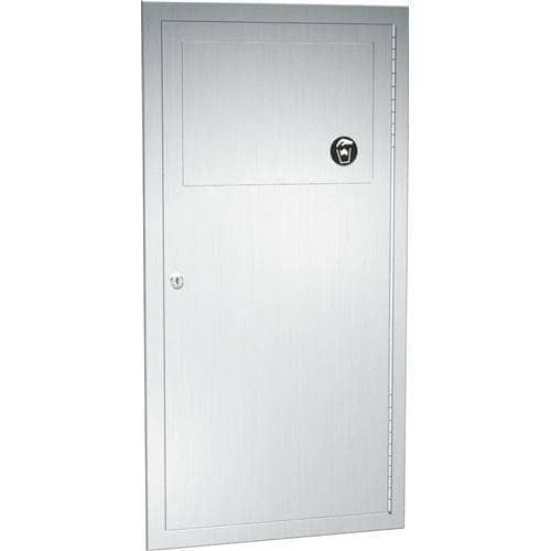 "ASI 04733 Commercial Restroom Waste Receptacle, 3 Gallon, Recessed-Mounted, 12-3/4"" W x 26-1/2"" H, 4"" D, Stainless Steel"