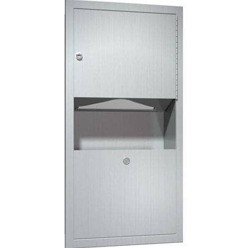 ASI 0462-AD-9 Combination Commercial Paper Towel Dispenser/Waste Receptacle, Surface-Mounted, Stainless Steel - TotalRestroom.com