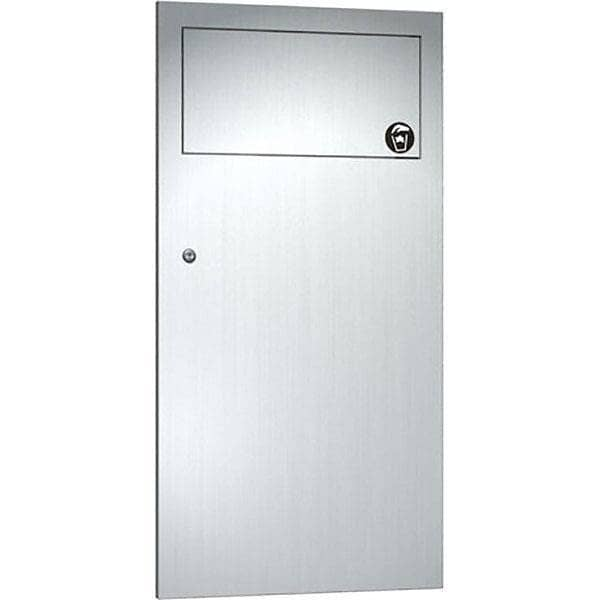 "ASI 6459 Commercial Restroom Waste Receptacle, 12 Gallon, Recessed-Mounted, 12-3/4"" W x 26-1/2"" H, 4-1/4"" D, Stainless Steel - TotalRestroom.com"