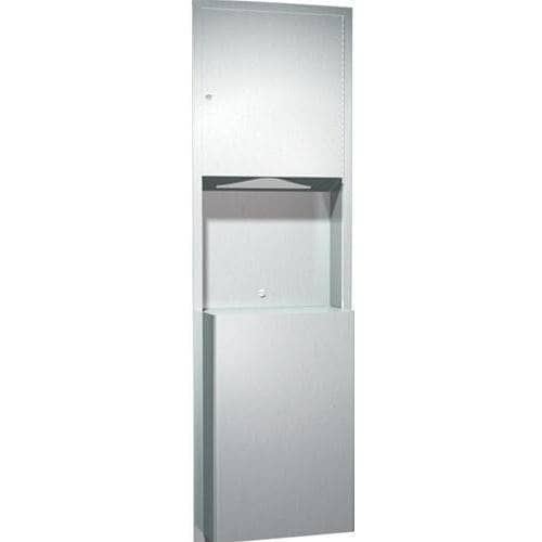 ASI 0469 Combination Commercial Paper Towel Dispenser/Waste Receptacle, Recessed-Mounted, Stainless Steel-Total Restroom